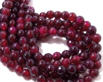 Magenta Fired Agate Bead, 8mm, Purple-Magenta, Round, Faceted, Small, Gemstone Beads, 15.5 Inch Strand - ID 362