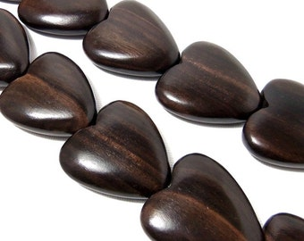 Tiger Ebony Wood Heart Bead, Focal Pendant, Natural Wood Bead, Hand Carved, 30mm, Large, Set of 2 Beads - ID 1442