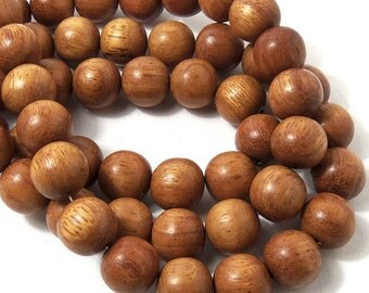 Bayong Wood, Round, 14mm-15mm, Smooth, Natural Wood Beads, Large, Full 16 Inch Strand, 28pcs - ID 1455