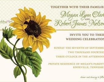 Printable Sunflower Wedding Invitation | Vintage Sunflower Invitation | Vintage Wedding Invitation | Fall Wedding Invitation Template