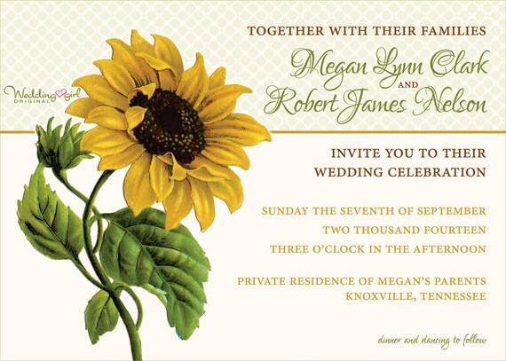 Sunflower Wedding Invitation Vintage Sunflower Invitation – Sunflower Wedding Invite