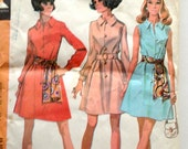 60s McCall's 2251 Button Front Dress with Collar, Long Sleeves or Sleeveless Size 18 Bust 40