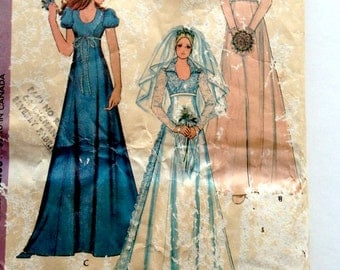 70s McCalls 3770 High Waisted Wedding Dress with Train Bridesmaids Size 14 Bust 36