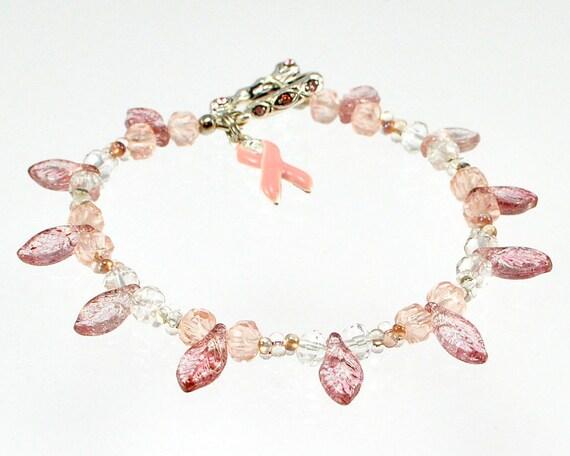 Pink Crystal Faceted Awareness Bracelet - Breast Cancer Awareness