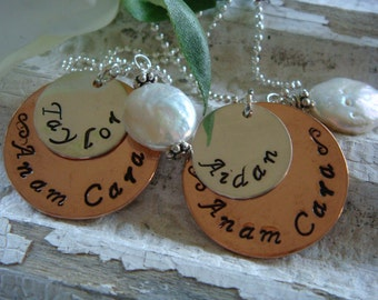 Friendship Necklace Set of 2 (Anam Cara - Soul Friend) personalized with your names