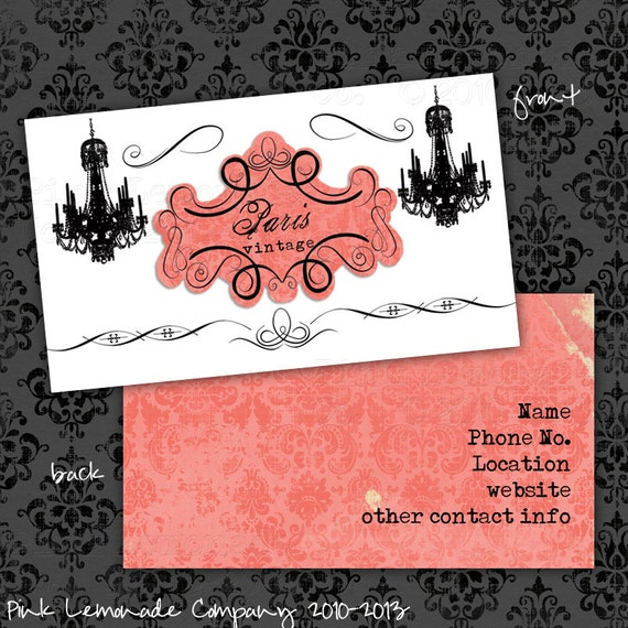 Items similar to paris vintage design business card design plus 500 items similar to paris vintage design business card design plus 500 cards front and back full color chandelier chic on etsy reheart Gallery