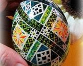 Egg, Pysanka, Ukrainian Easter Egg, Batik decorated Goose egg, Summer Days Ukrainian Dyed Goose Egg