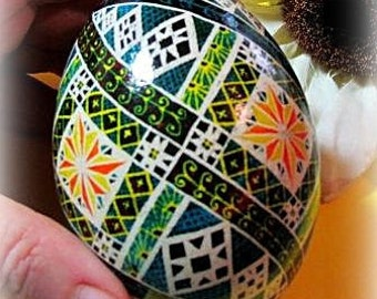 Egg, Pysanka, Ukrainian Easter Egg, Batik decorated Goose egg, Summer Days Ukrainian Dyed Goose Egg