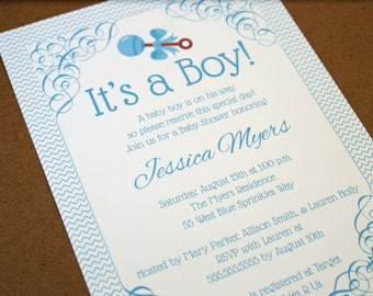 It's a Boy Blue Chevron with Rattle Baby Shower Invitation - Printed or Digital Version Available