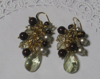 Swarovski Pearl and Crystal Cluster Earrings - Wine, Platinum and Luminous Green Pearls and Crystals Wired Wrapped Gold