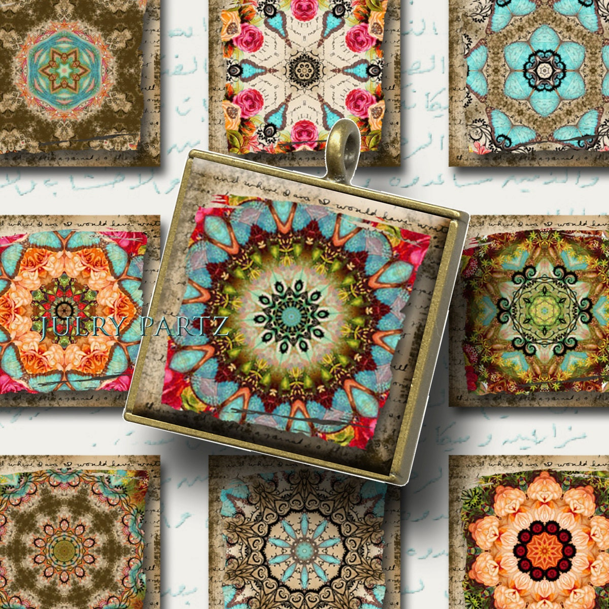 Moroccan Relics 1x1 Printable Digital Images Cards Gift