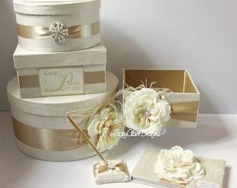 Wedding Card Box Set - includes Card Box, Guest Book and Program Box Custom Made