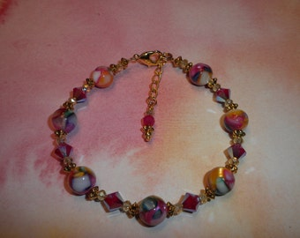 Gorgeous Motley Mother Of Pearl Bracelet