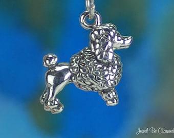Sterling Silver Poodle Charm Purebred Poodles Dog Breed 3D Solid .925