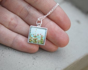 Petite delicate sterling silver square pendant necklace