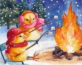 Animal Print Baby Chicks Winter Camping Ferdinand and Nina 8x10 Art by Janet Zeh