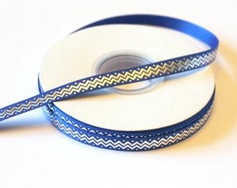 """3/8"""" Silver and Royal Blue  Chevron & Polka Dots Grosgrain Ribbon - 25 yards - Buy Decorative Ribbon - Wholesale Ribbon"""