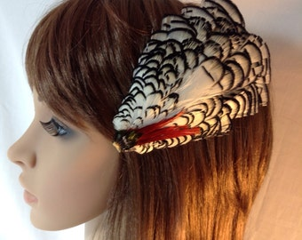 Lady Amherst Pheasant Feather Fascinator Hair Clip