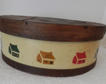 Vintage Hand Painted Cheese Box- Solid Wood Cheese Box- Round Cheese Box