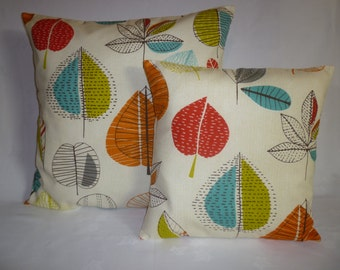 """BIG and Small PAIR Orange Pillow Covers BIG Small Designer Retro Mix Match Pillowcases Shams Slips Scatter.22"""" and 16"""""""