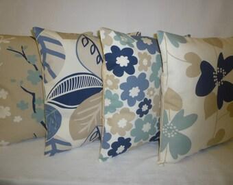 "5 x 22"" BIG euro sham Pillow Covers Blue Brown Designer Cushion Covers Throw Accent Funky Decorative Pillows (56cm)"