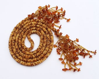 Mustard Beaded Long Necklace Lariat Belt with Amber Tassels