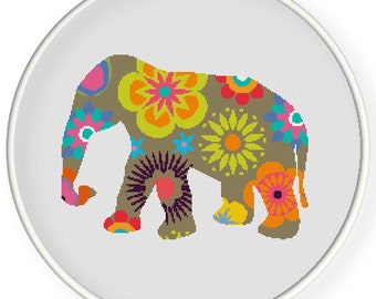 Instant Download,Free shipping,Counted Cross stitch pattern,Cross-Stitch PDF,flower elephant ,zxxc0429