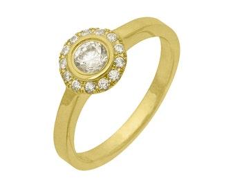Cluster Bezel Set Diamond Engagement Ring 18k Yellow Gold