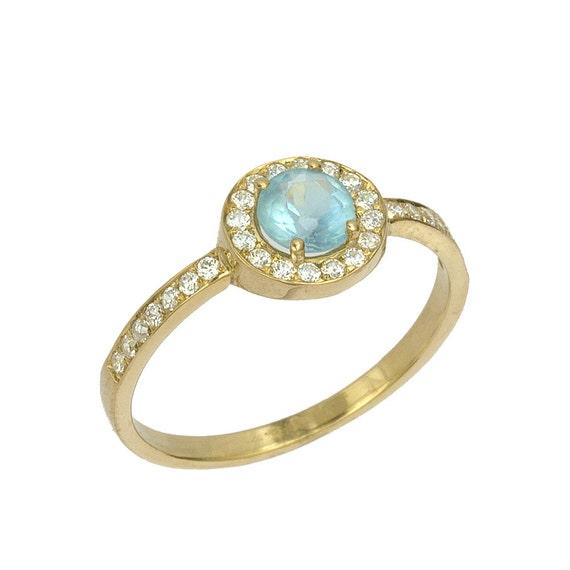 items similar to vintage blue topaz diamond engagement