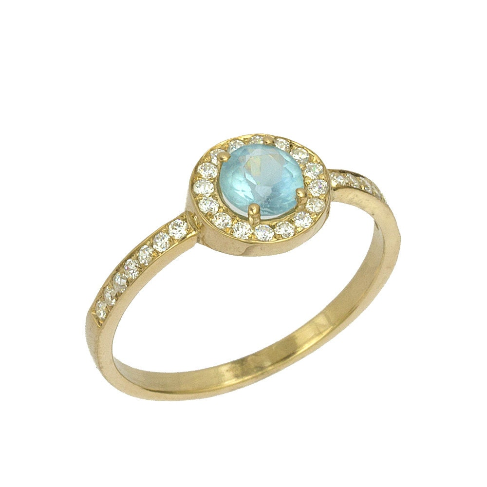 vintage blue topaz diamond engagement ring in by