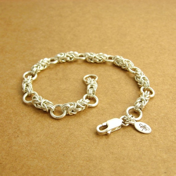 Sterling Silver Byzantine Chainmaille Bracelet, Segmented, Ready To Ship