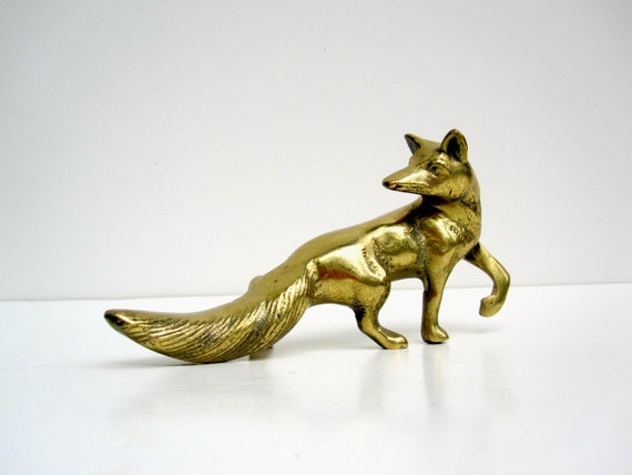 Woodland Fox - Brass Fox Figurine - Fox Sculpture Yellow Gold