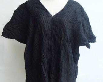 B7, Free Size Free Spirit Black Cotton Blouse, black blouse