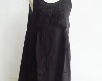 D19, Knitted Spring Dark Brown Cotton Dress
