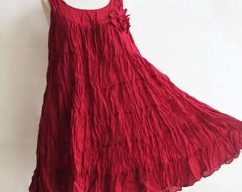 D23, Dark Red Maternity Summer Spring Cotton Dress