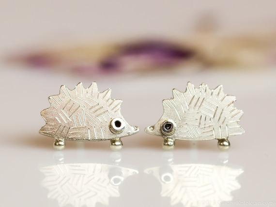 HEDGEHOG Stud Earrings Sterling silver Mini Zoo