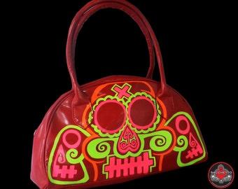 sugar skull neon on red handbag