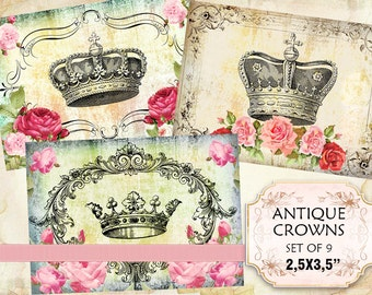 Royal crowns with vintage shabby background 2.5 x 3.5 inch (310) digital collage sheet ephemera