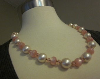 Preppy in Pink - Vintage Pink Plastic & Faux Pearl Necklace