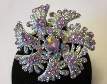 Winter Wonderland - Vintage Silver Tone Snowflake Brooch with Purple Rhinestone Accents