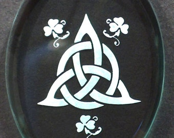 Carved Glass Celtic Triquetra Ornament