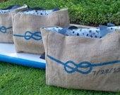 5 CUSTOM Eco-Friendly Tote Bags for Bridesmaids Gifls - Handmade from Recycled Coffee Sacks
