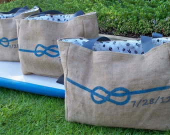 5 CUSTOM Eco-Friendly Tote Bags for Bridesmaids Gifls - Handmade from Recycled Coffee Sacks