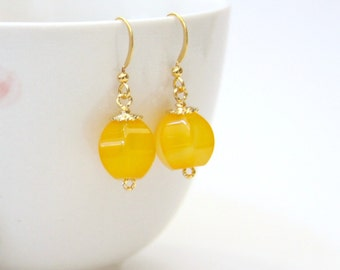 Jonquil Yellow Agate Gemstone Drop Earrings