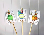 3 Citrus Signs Orange Lemon Lime Set for Gardens Humor Decor Aluminum UV Safe Garden Marker bamboo stake