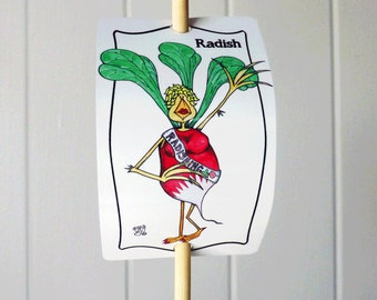 Vegetable Marker Radish Radishing Pun for Gardens Decor Aluminum Sign Urban Farming