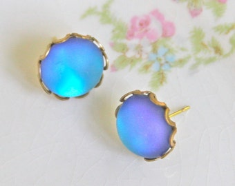 Vintage Blue Aqua Blue Frosted Glass Scalloped Rhinestone Post Earrings - Wedding, Bridal, Bridesmaid, Tropical , Beach