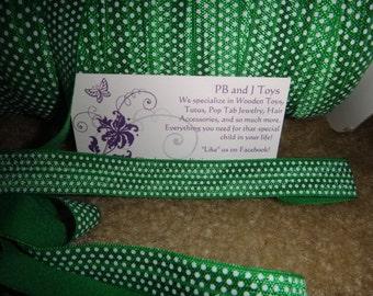 """5/8"""" FOE  Green with White Polka Dots Elastic 5/8 inch"""