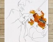 Quartet Series / 2 of 4 / 8.5 x 11 in. Art Print | modern abstract violin violinist musician wall art