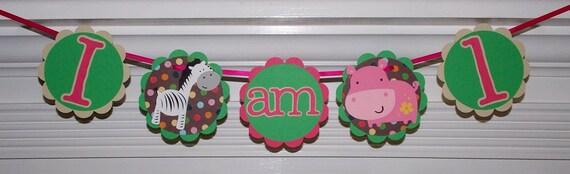 "Jungle ""I am 1"" banner READY TO SHIP 1st Birthday Safari High Chair Banner Brown Green Pink Polka Dots  Zebra Hippo die cut  Girl Birthday"